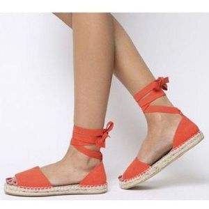 Summer Coral J Crew Espadrille sandal with ties